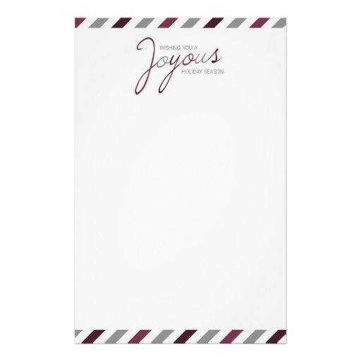 Papeterie de fête de rayure joyeuse de sucrerie papier à lettre personnalisé