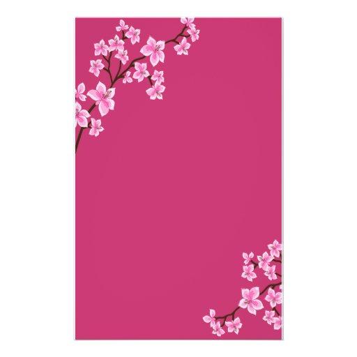 Papeterie de fleurs de cerisier papier à lettre personnalisable
