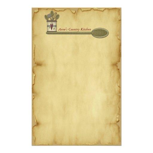 Papeterie de parchemin de cuisine de pays papier lettre for Papier parchemin cuisine