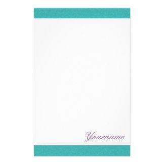 Papeterie lumineuse personnalisée de vert d Aqua Papier À Lettre Customisé