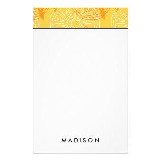 Papeterie Motif d'été dessiné par citrons jaunes lumineux