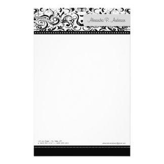 Papeterie noire tourbillonnante de concepteur de b papier à lettre customisable
