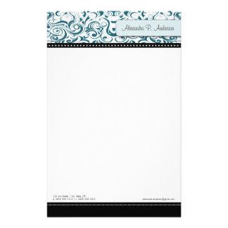 Papeterie turquoise tourbillonnante de concepteur papier à lettre personnalisé