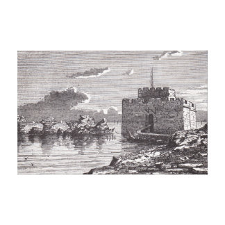 Paphos Cyprus medieval fort 19th century engraving Canvas Print