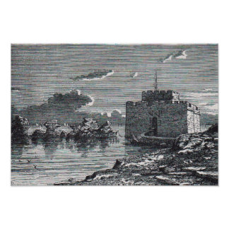 Paphos Cyprus medieval fort 19th century engraving Poster