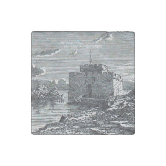 Paphos Cyprus medieval fort 19th century engraving Stone Magnets