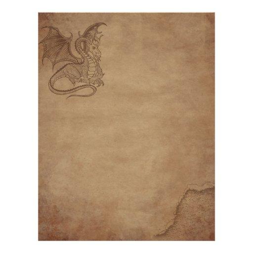 Papier âgé - dragon en-tête de lettre