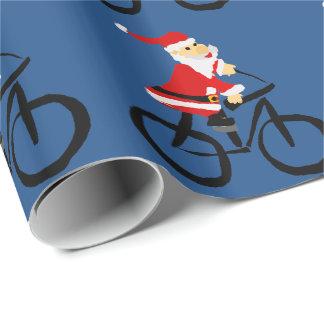Papier Cadeau Art drôle de Noël de bicyclette d'équitation du