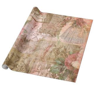 Papier Cadeau Papier d'emballage de toile romantique rose de