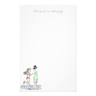 Papier de note de Merci de couples de plage Papier À Lettre Personnalisable