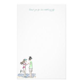 Papier de note de Merci de couples de plage Papier À Lettre Customisable