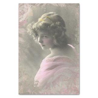 Papier de soie de soie victorien vintage de rose