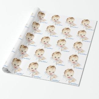 Papier d'emballage de baby shower bleu vintage papier cadeau