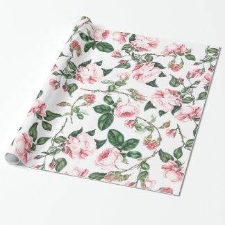 Papier d'emballage de fleurs roses papiers cadeaux