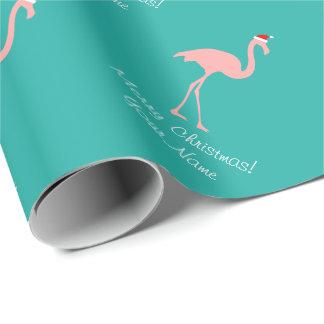 Papier d'emballage de Noël tropical rose de Papier Cadeau