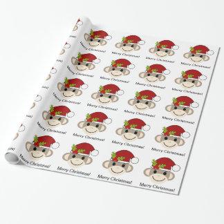 Papier d'emballage de singe de chaussette de Noël Papier Cadeau Noël