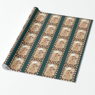 Papier d'emballage de vacances de pain d'épice de papiers cadeaux