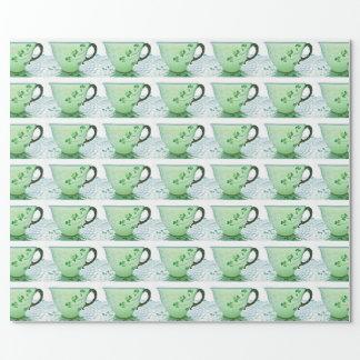 Papier d'emballage irlandais de tasse de thé de papier cadeau noël