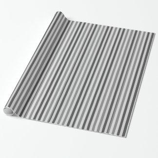 Papier d'emballage rayé : Rayures de gris argenté Papier Cadeau