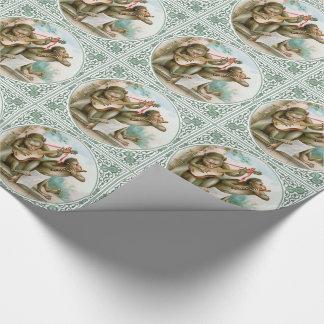 Papier d'emballage victorien - singes musicaux papier cadeau noël