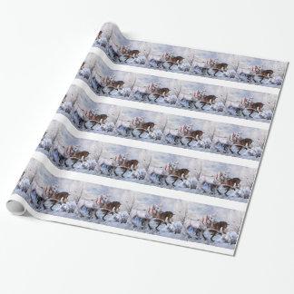 Papier d'enveloppe de cadeau de chevaux de Noël Papier Cadeau