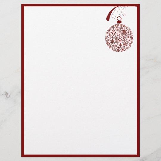 Papier En Tête De Lettre De Noël D Ornement De Flocon De