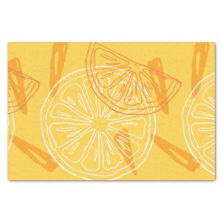 Papier Mousseline Motif d'été dessiné par citrons jaunes lumineux