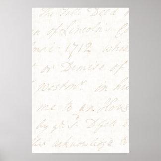 papier parcheminé en ivoire de manuscrit anglais poster