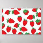 Papier peint de fraise affiche