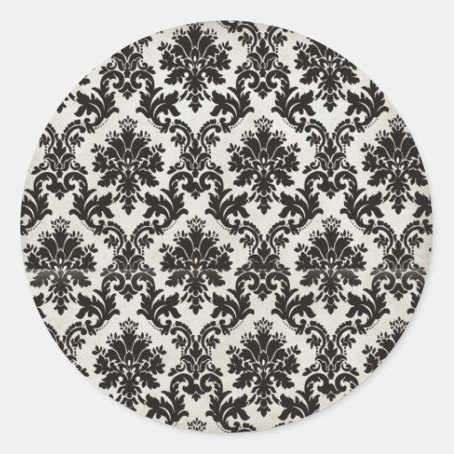 papier peint noir et blanc vintage de damass sticker rond zazzle. Black Bedroom Furniture Sets. Home Design Ideas