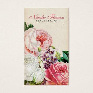 Papier rose élégant floral vintage chic de beige cartes de visite