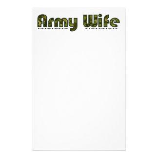 Papier stationnaire de camouflage d'épouse d'armée papier à lettre customisable