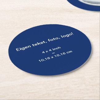 Papieren Onderzetter Rond uni Blauw Round Paper Coaster