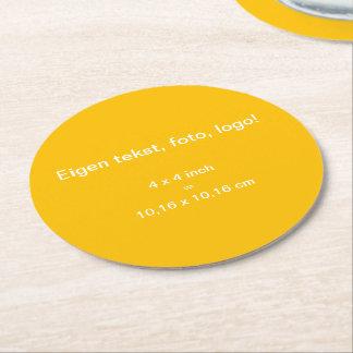 Papieren Onderzetter Rond uni Geel Round Paper Coaster