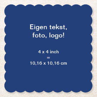 Papieren Onderzetter Vierkant Geschulpt uni Blauw Paper Coaster