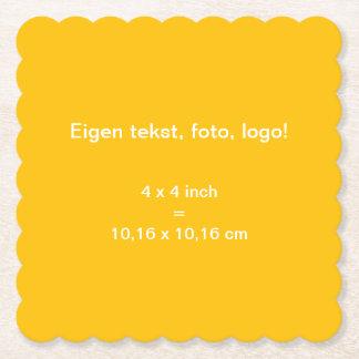 Papieren Onderzetter Vierkant Geschulpt uni Geel Paper Coaster