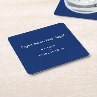 Papieren Onderzetter Vierkant uni Blauw Square Paper Coaster