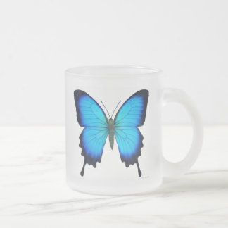 Papilio Ulysses Butterfly Frosted Glass Mug