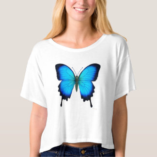 Papilio Ulysses Butterfly Ladies Crop Shirt