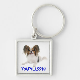 Papillon Brown and White Puppy Dog Blue Love Keychain