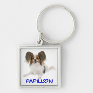 Papillon Brown and White Puppy Dog Love Keychain