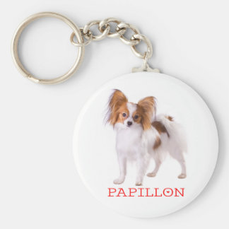 Papillon Brown and White Puppy Dog Red Love Keychain