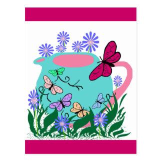 papillon butterfly teapot postcard