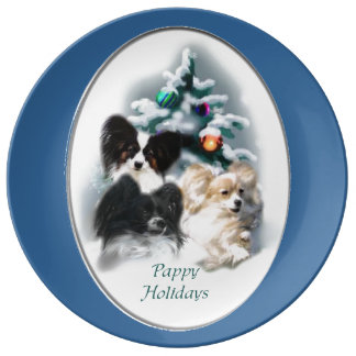 Papillon Christmas Gifts Porcelain Plate