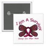 Papillon de drépanocytose je suis un survivant badges avec agrafe