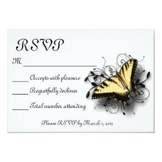 Papillon de machaon de tigre carton d'invitation 8,89 cm x 12,70 cm