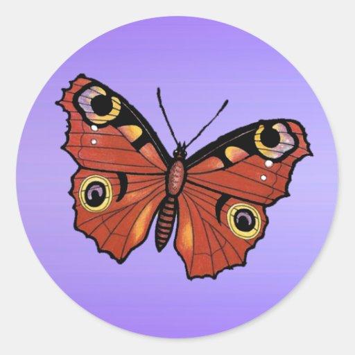 Papillon de monarque assez vif adhésifs ronds