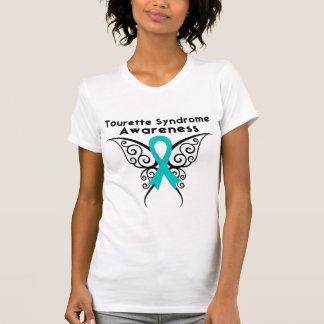 Papillon de tatouage de conscience de syndrome de tee shirts