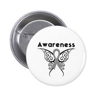 Papillon de tribal de conscience de diabète macaron rond 5 cm