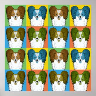 Papillon Dog Cartoon Pop-Art Poster